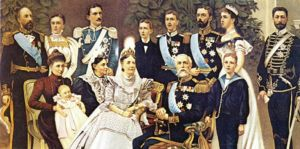 King Oscar II of Sweden (1829-1907) and family, from left: Prince Oscar and Princess Ebba Bernadotte, Princess Ingeborg with daughter Margaretha, Prince Carl, Princess Teresia, Queen Sofia, Princes Wilhelm and Gustaf (VI) Adolf, (king), Crown Prince Gusta