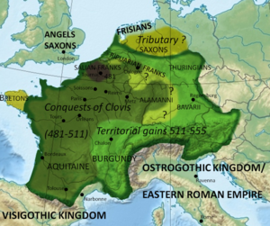 The Frankish Empire in 555, the year of Theudebalds death