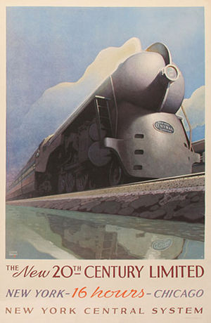 New York - Chicago train poster by Leslie Ragan