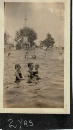 George with Katherine and Bob in water 1923