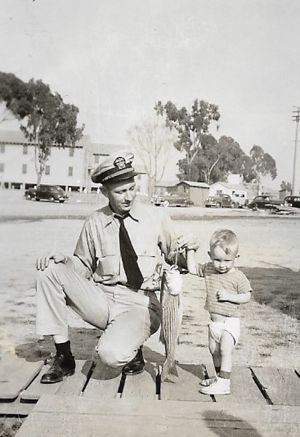 LeRoi home from WWII with his son