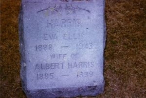 Headstone for Albert and Eva Ellis Harris, Pine Grove Cemetery, Fitzwilliam, New Hampshire, U.S.