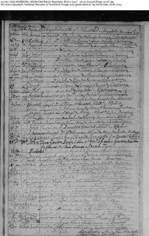 d015c5c9dfa Birth and Baptism record for Adam Morison