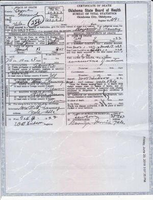 Death certificate for Benjamin Ramsey listing his mother's name as Nellie Brown