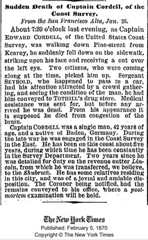 Obituary, New York Times, 05Feb1870