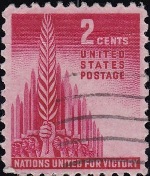 Nations United for Victory 2 Cents US Postage