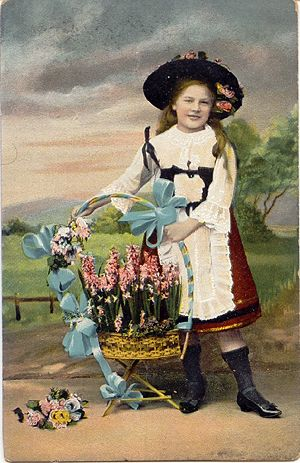 Girl with Flowers Greeting Card