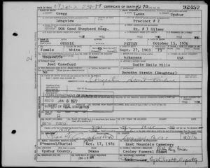Gussie's Death Certificate