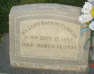 William Bamon Furman headstone 1887 to 1936 Olive Branch Cemetery Portsmouth VA Plot A220 Source Find A Grave