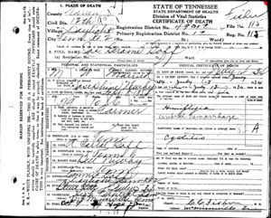 James Goff Death Certificate