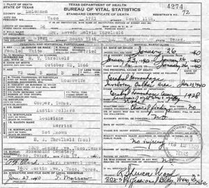 Leveda Melvin (Pollard) Threlkeld, Texas Death Certificate, 26 January 1940
