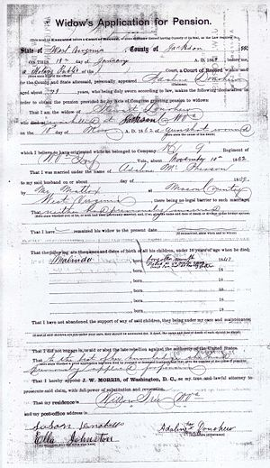 Widow's Application for Pension