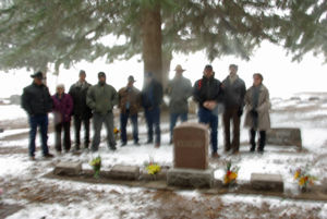Brown family in the Brown Lot.   Harry and Donna Brown were buried in the same cemetery as many of their family. It snowed the April day they were buried. Flowers for their ancestors bloomed that wintery day in the Monte Vista Cemetery.