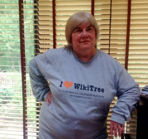 Nancy Lee Cousins and a new Wikitree tee.