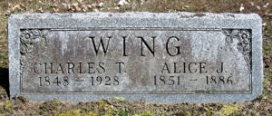 Charles Thomas Wing and Alice Jane Woodward Wing headstone