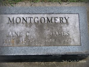 Grave stone for James Montgomery and Jane Caldwell
