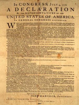 Selective image within printable copy of the declaration of independence
