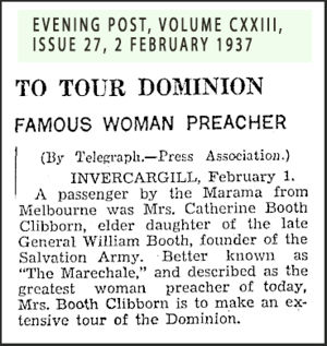 Catherine Booth-Clibborn Tours the Dominion in 1937