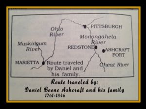 Route followed by Daniel Boone Ashcraft 1761-1846 and his family on Cheat River to Ohio River to Marietta