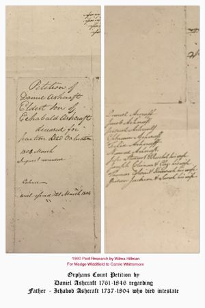 Cover of Orphans Court Petition - lists children of Ichabod 1737-1804 filed by Ashcraft Daniel 1761-1846