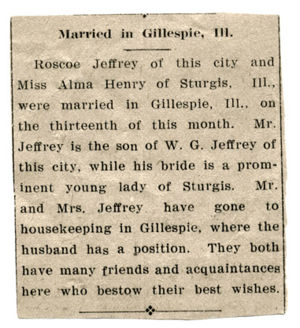 Elijah Roscoe and Alma (Henry) Jeffries marriage announcement.