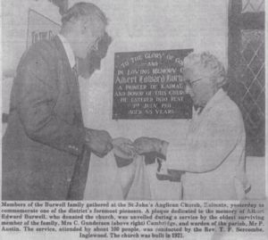Caroline Gunderson (nee Burwell) unveiling a plaque in honour of her later father Albert Edward Burwell