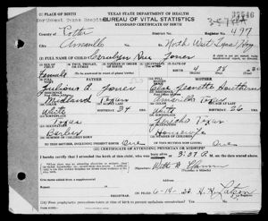 Carolyn Jones Birth Certificate