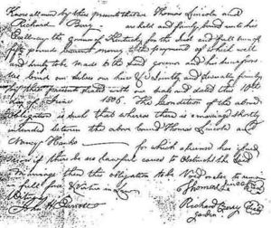 1806 Marriage Bond for Thomas Lincoln and Nancy Hanks