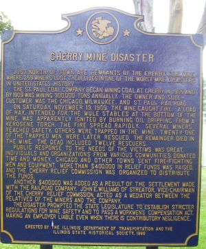 Historical Marker, Cherry Mine Disaster