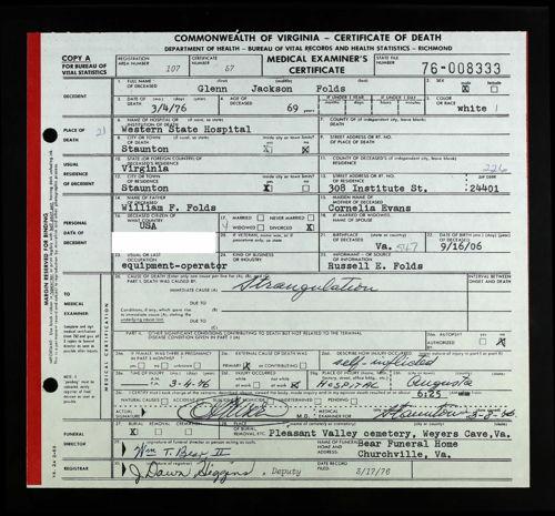 glenn j folds va death certificate