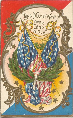 'Long May it Wave' American Flag Postcard