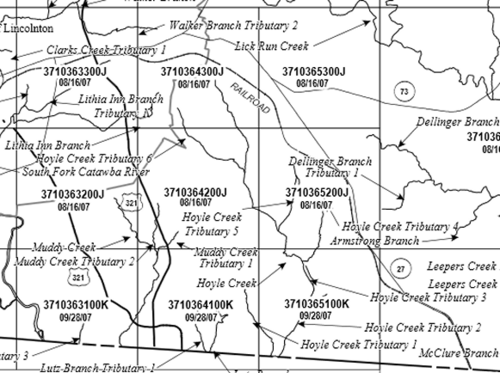 2015 Map Dellinger Branch Of Leepers Creek Lincoln County North