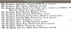 1911 NZ Electoral Roll for Denis Broughan and family