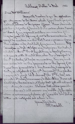 Otway B. Norvell - Application to Old Confederate Soldiers Home , Cover Letter