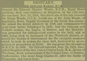 Lt-Gen Sir Edward Charles Warde - Obituary