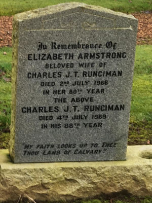 The grave is one of 3 lairs in a Runciman plot purchased by Alan Runciman Sr in 1956.