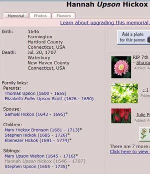 Hannah (Upson) Hickok (abt 1645-abt 1707) | WikiTree FREE Family Tree