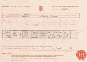 Birth record for Walter Charles Hunt