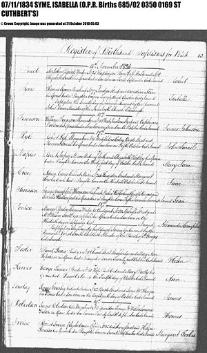 Isabella Oxley birth/baptism church register entry