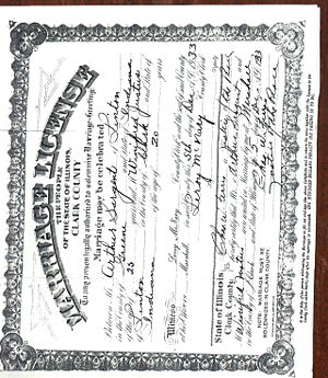 Arthur Sargent / Winifred Justus Marriage License