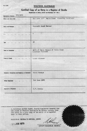 Harriett Sarah Brown Death Certificate