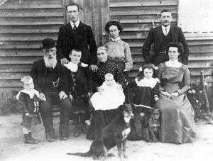 Cameron family, ca 1912. Back: Angus (Dooley) Cameron, Mary Cameron, Patrick Powell Middle: Con Powell, Ewen Cameron, Ewen Powell, Mary Cameron (nee McGruer), Kathleen Powell, Catherine Powell (nee Cameron), Marguerita Powell