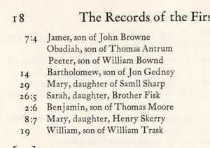 William Trask Baptism Record