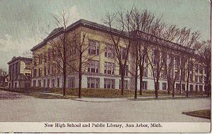 Ann Arbor High School and Public Library Postcard