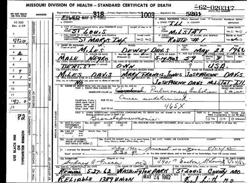Death Certificate for Miles Davis Jr.