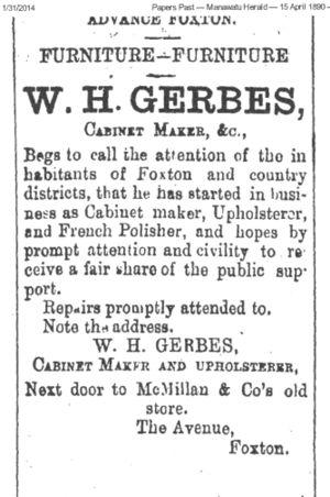 Williams Advertisement In The Manawatu Herald