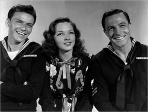"actors, Frank Sinatra, Kathryn Grayson and Gene Kelly in ""Anchors Aweigh"