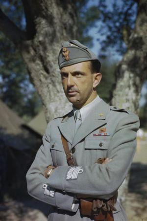 HRH Prince Umberto during his visit to the troops during his visit to the Italian Corps of Liberation, Sparanise and Polipo, Naples, Italy.
