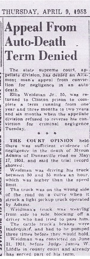 Schenectady Gazette, 09 Apr 1953, Ellis Weidman Jr.