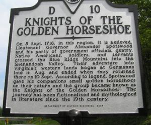 Virginia Historic Marker-Knights of the Golden Horseshoe